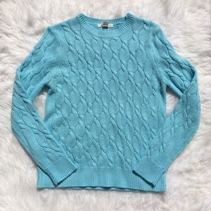 Forever21 Light Blue Cable Knit Crew Neck Sweater